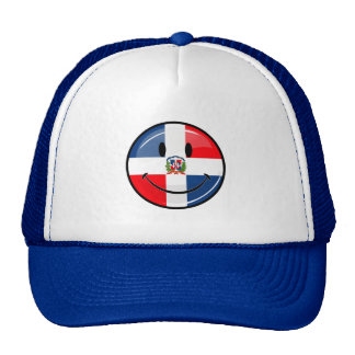 Glossy Round Smiling Dominican Flag Trucker Hat