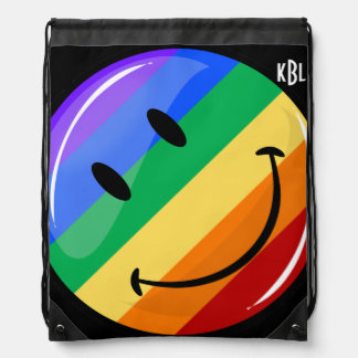 Glossy Round Smiling Gay Lgbt Pride Flag Drawstring Backpack
