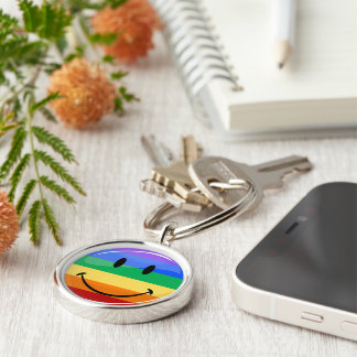 Glossy Round Smiling Gay Lgbt Pride Flag Keychain
