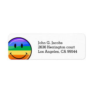 Glossy Round Smiling Gay Pride Flag Label