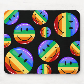 Glossy Round Smiling Gay Pride Flag Mouse Pad