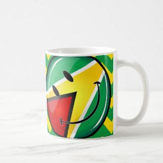 Glossy Round Smiling Guyanese Flag Coffee Mug