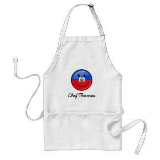Glossy Round Smiling Haitian Flag Adult Apron