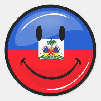 Glossy Round Smiling Haitian Flag Classic Round Sticker