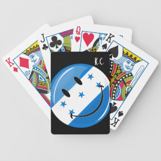 Glossy Round Smiling Honduran Flag Bicycle Playing Cards
