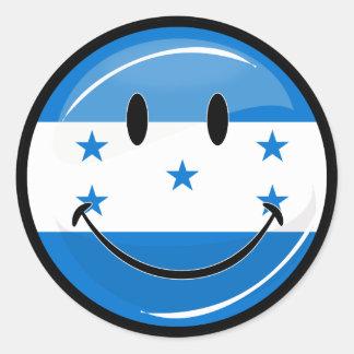 Glossy Round Smiling Honduran Flag Classic Round Sticker