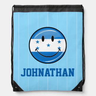 Glossy Round Smiling Honduran Flag Drawstring Bag
