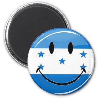 Glossy Round Smiling Honduran Flag 2 Inch Round Magnet