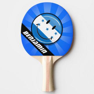 Glossy Round Smiling Honduran Flag Ping Pong Paddle