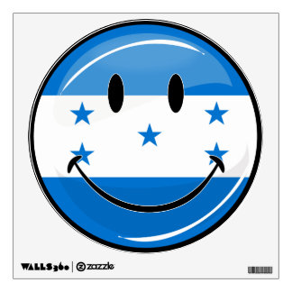 Glossy Round Smiling Honduran Flag Wall Decal
