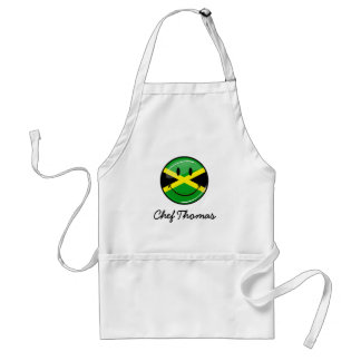 Glossy Round Smiling Jamaican Flag Adult Apron
