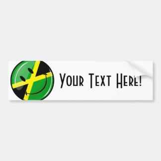 Glossy Round Smiling Jamaican Flag Car Bumper Sticker
