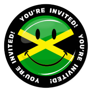 Glossy Round Smiling Jamaican Flag Card