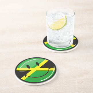 Glossy Round Smiling Jamaican Flag Drink Coaster