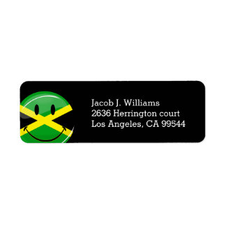 Glossy Round Smiling Jamaican Flag Return Address Label