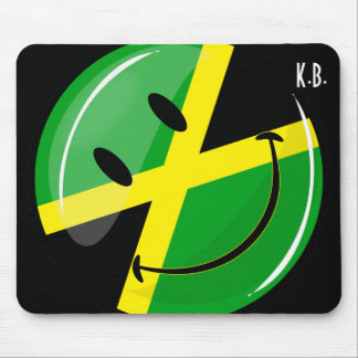 Glossy Round Smiling Jamaican Flag Mouse Pad