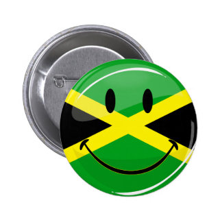 Glossy Round Smiling Jamaican Flag Pinback Button