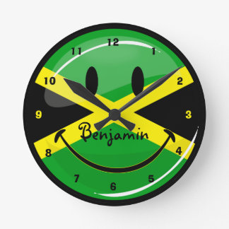 Glossy Round Smiling Jamaican Flag Round Clock