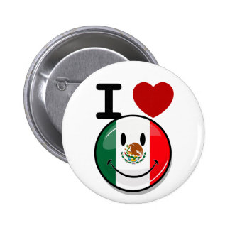 Glossy Round Smiling Mexican Flag 2 Inch Round Button
