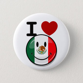 Glossy Round Smiling Mexican Flag Pinback Button