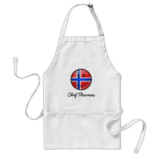 Glossy Round Smiling Norwegian Flag Adult Apron