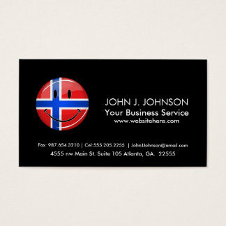 Glossy Round Smiling Norwegian Flag Business Card
