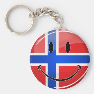 Glossy Round Smiling Norwegian Flag Keychain