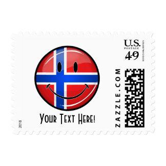 Glossy Round Smiling Norwegian Flag Postage