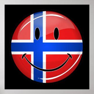Glossy Round Smiling Norwegian Flag Poster