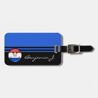 Glossy Round Smiling Paraguay Flag Bag Tag