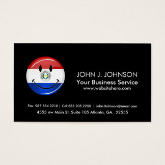 Glossy Round Smiling Paraguay Flag Business Card