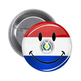 Glossy Round Smiling Paraguay Flag 2 Inch Round Button