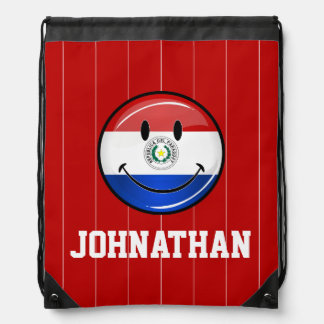 Glossy Round Smiling Paraguay Flag Drawstring Backpack