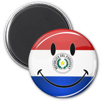 Glossy Round Smiling Paraguay Flag Magnet