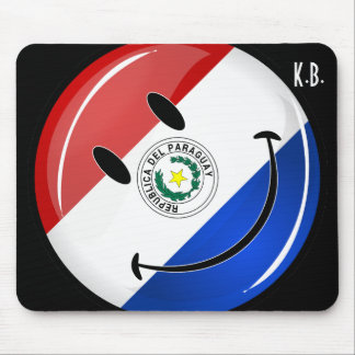 Glossy Round Smiling Paraguay Flag Mouse Pad