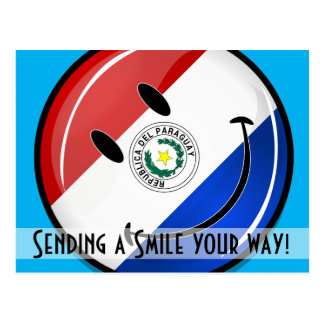 Glossy Round Smiling Paraguay Flag Postcard