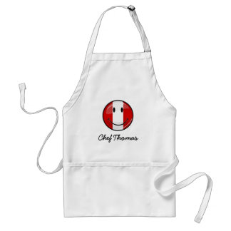 Glossy Round Smiling Peruvian Flag Adult Apron