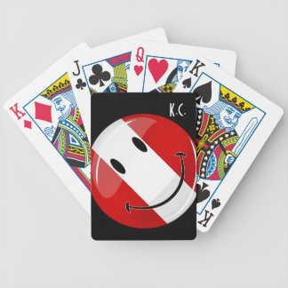 Glossy Round Smiling Peruvian Flag Bicycle Playing Cards