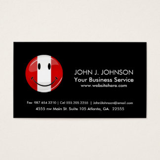 Glossy Round Smiling Peruvian Flag Business Card