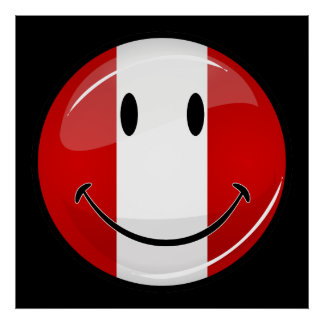 Glossy Round Smiling Peruvian Flag Poster