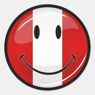 Glossy Round Smiling Peruvian Flag Round Sticker