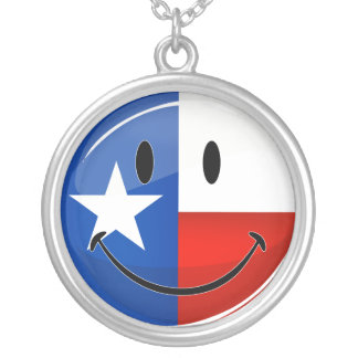 Glossy Round Smiling Proud Texas Flag Round Pendant Necklace
