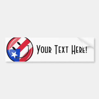 Glossy Round Smiling Puerto Rican Flag Car Bumper Sticker