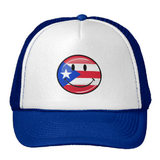 Glossy Round Smiling Puerto Rican Flag Trucker Hats