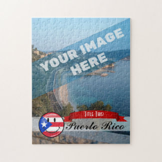Glossy Round Smiling Puerto Rican Flag Jigsaw Puzzle