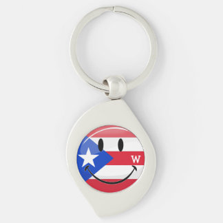 Glossy Round Smiling Puerto Rican Flag Keychain