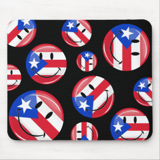 Glossy Round Smiling Puerto Rican Flag Mouse Pad