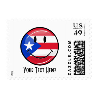 Glossy Round Smiling Puerto Rican Flag Postage Stamp