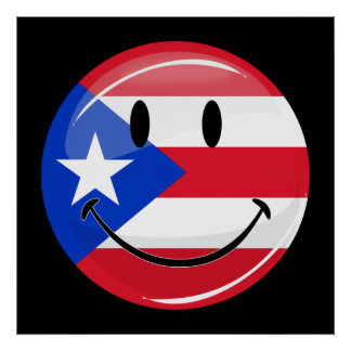 Glossy Round Smiling Puerto Rican Flag Poster