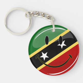 Glossy Round Smiling St. Kitts and Nevis Flag Keychain